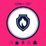 Schermo con il segno del fuoco - icona di protezione Fotografia Stock