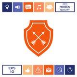 Schermo con le frecce Icona di protezione Fotografie Stock Libere da Diritti