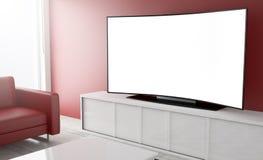 schermo curvo di bianco della televisione Immagine Stock Libera da Diritti