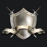 Schermo d'argento medievale con le spade ed il nastro illustrazione vettoriale