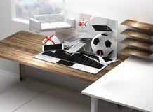 Schermo 3d-illustration dei regali del computer portatile del taccuino del computer illustrazione vettoriale