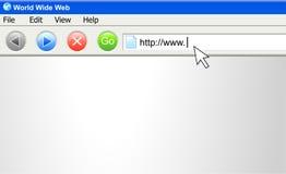Schermo del browser del Internet con il URL Immagini Stock