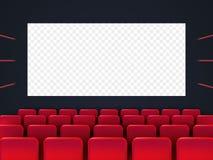 Schermo del cinema con i sedili rossi illustrazione vettoriale