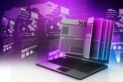 Schermo del computer portatile che mostra le ultime notizie online Immagine Stock