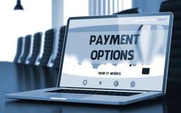 Schermo del computer portatile con il concetto di opzioni di pagamento illustrazione 3D Fotografia Stock Libera da Diritti