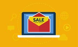 Schermo del computer portatile con l'introduzione sul mercato del email della busta Legga la promozione dall'icona del email Annu Fotografia Stock