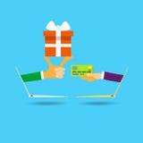 Schermo del computer portatile della carta di credito del contenitore di regalo della tenuta delle mani illustrazione di stock