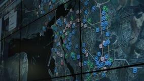 Schermo del primo piano con Glonass nel Ministero dell'emergenza della Russia archivi video