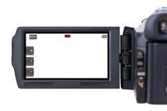 Schermo dell'affissione a cristalli liquidi della videocamera portatile Fotografia Stock