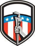 Schermo della bandiera di Hand Pipe Wrench U.S.A. dell'idraulico retro Fotografia Stock Libera da Diritti