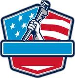 Schermo della bandiera di Hand Pipe Wrench U.S.A. dell'idraulico retro Fotografia Stock
