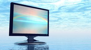 Schermo della TV con il Rainbow fotografia stock