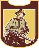 Schermo di Aiming Fire Hose del pompiere del vigile del fuoco retro illustrazione di stock