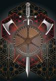 Schermo di battaglia con le asce ed il finale della spada Immagini Stock Libere da Diritti