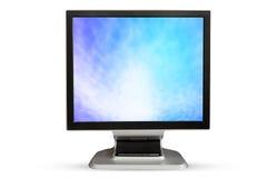 Schermo di bianco dello spazio in bianco del monitor del computer Isolato su backgroun bianco Immagini Stock Libere da Diritti