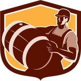 Schermo di Carrying Beer Barrel del barista retro Immagine Stock Libera da Diritti