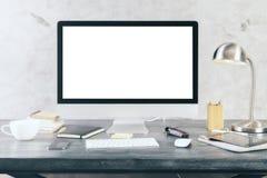 Schermo di computer bianco Fotografia Stock Libera da Diritti