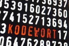 Schermo di computer con il testo del kodewort su fondo nero Fotografie Stock Libere da Diritti