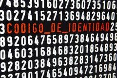 Schermo di computer con il testo di codigo de identidad su backgroun nero Fotografie Stock Libere da Diritti