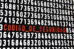 Schermo di computer con il testo di codigo de seguridad su backgroun nero Immagine Stock Libera da Diritti