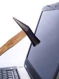 Schermo di computer d'arresto del martello immagine stock libera da diritti