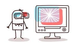 Schermo di computer di sorveglianza dell'uomo con i vetri 3D Immagine Stock