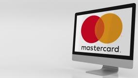 Schermo di computer moderno con il logo di Mastercard Rappresentazione editoriale 3D Fotografia Stock
