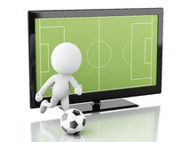 schermo di 3d TV con il campo di calcio e la palla Fotografie Stock Libere da Diritti