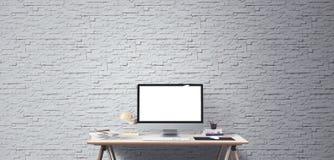 Schermo di desktop computer Fondo creativo moderno dell'area di lavoro Front View immagini stock