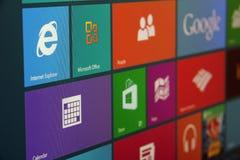 Schermo di inizio di Windows 8 inclinato Fotografia Stock Libera da Diritti