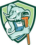 Schermo di Mascot Monkey Wrench dell'idraulico dell'elefante retro Immagine Stock
