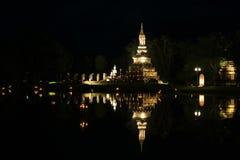 Schermo di notte di Wat Traphang Ngoen Fotografia Stock Libera da Diritti