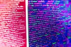 Schermo di programmazione di codice sorgente di codifica Immagine Stock