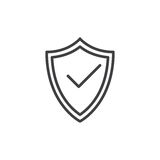 Schermo di protezione con la linea icona, segno di vettore del profilo, pittogramma lineare del segno di spunta di stile isolato  Fotografia Stock Libera da Diritti