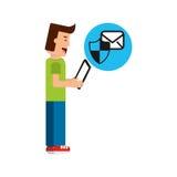 Schermo di protezione del email della compressa dell'uomo del fumetto Fotografia Stock Libera da Diritti