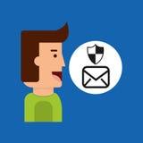 Schermo di protezione del email della compressa dell'uomo del fumetto Fotografia Stock