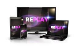 schermo di replay 3d sui dispositivi del computer Immagini Stock Libere da Diritti