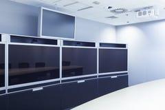 Schermo di sistema di teleconferenze, di videoconferenza e di telepresence Fotografia Stock Libera da Diritti