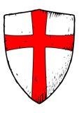 Schermo di Templar con una croce rossa Immagini Stock Libere da Diritti