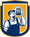 Schermo di Toast Beer Mug del barista retro Fotografia Stock