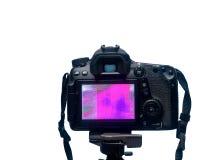 Schermo di visualizzazione LCD di DSLR con struttura del pixel della matrice della macchina fotografica su un treppiede su fondo  fotografia stock libera da diritti