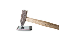 Schermo distrutto di un telefono Fotografie Stock