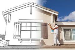 Schermo diviso del disegno e foto dell'imbianchino Painting Home Immagine Stock