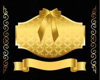 Schermo dorato con il bello ornamento Fotografia Stock Libera da Diritti