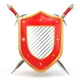 Schermo e spada. Concetto di sicurezza. 3d Fotografia Stock Libera da Diritti
