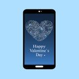 Schermo felice app dello smartphone di giorno di biglietti di S. Valentino Fotografia Stock