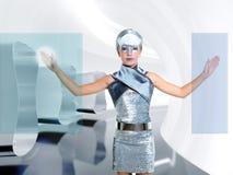 Schermo futuristico del dito di tocco della ragazza dei bambini Immagine Stock