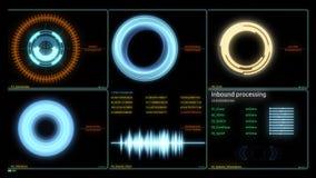 Schermo futuristico di dati del computer di interfaccia di tecnologia Vari grafici animati di Infographics come esposizione agile royalty illustrazione gratis