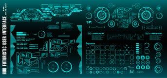 Schermo futuristico di tecnologia di realtà virtuale dell'esposizione del cruscotto del hud di fantascienza, obiettivo fotografia stock