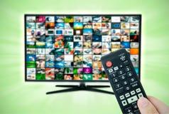 Schermo a grande schermo di alta definizione TV con la video galleria Fotografia Stock